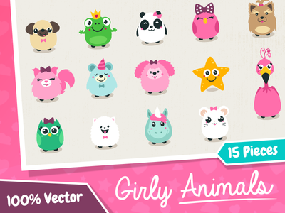 Vector Girly Animals fluffy puppy forsale creativemarket sweet cute girlish childish animals cartoon vector