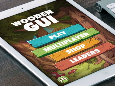 Wooden GUI For Mobile Games vector cartoon ui forest menu interface game mobile gui wooden