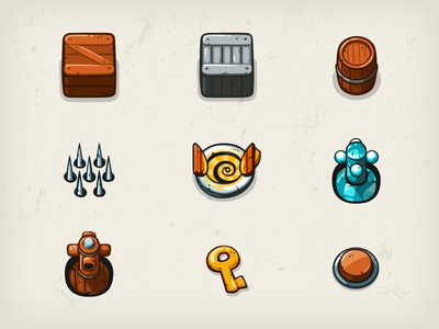 Maze Bandit Objects - part 1 button cannon key spikes crate barrel objects game mobile maze bandit