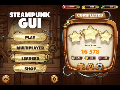 Steampunk Game GUI window mobile industrial sci-fi interface menu ui gui steampunk