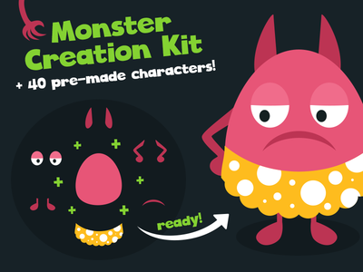 Monster Creation Kit with 40 Pre-made Characters mascot monster vector kit creation creator avatar creature character cartoon