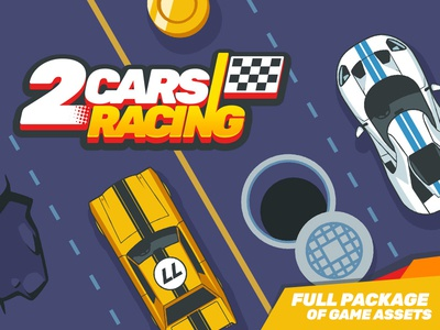 Game Assets for 2 Cars Racing driving racing race top down gui car vector top view assets game