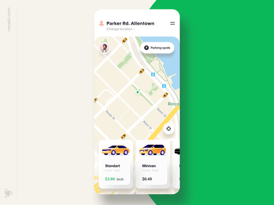 Car Rental App Design Concept trip taxi ux ui rideshare one-way map ios interaction animation sharing rental app mobile app design ronas it vehicle card automotive auto app
