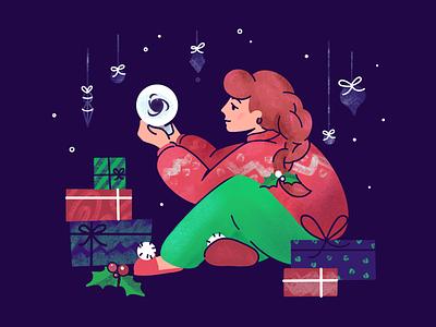 Happy Holidays ⛄️🎄❄️ | Christmas Illustration santa merry winter flat vector girl fun illustration xmas happy tree snow gifts holidays house christmas character art cute ronas it