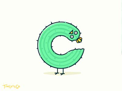 C for Cactus bird