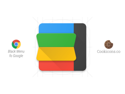 Black Menu for Google Product Icon material icon iconography chrome extension google material design product icon app icon