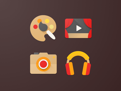 Material Kids App Icons material design camera drawing video music kids android iconography icon material
