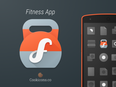 Fitness Product Icon kettle bell fitness iconography app icon icon android material design