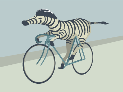 Zebra on a bike zebra bicycle luustration vector
