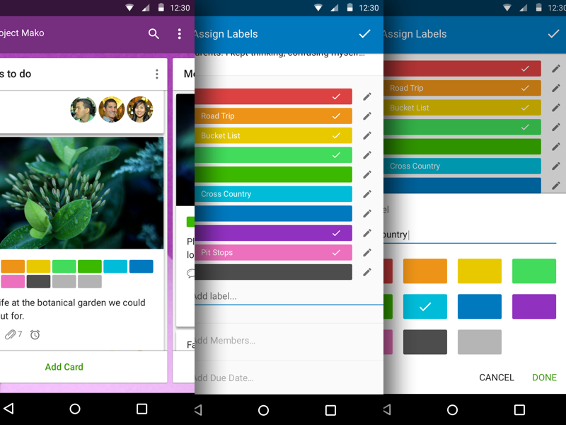 Unlimited Labels for Android trello android unlimited labels ui