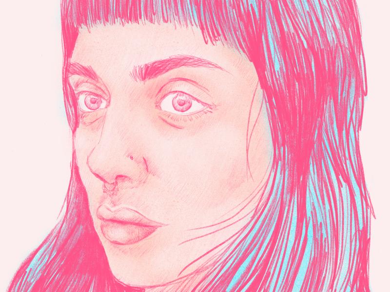 Self Portrait face female procreate illustration self portrait