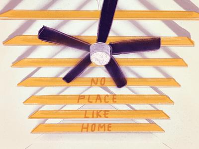No Place Like Home procreate shadows beams ceiling fan illustration