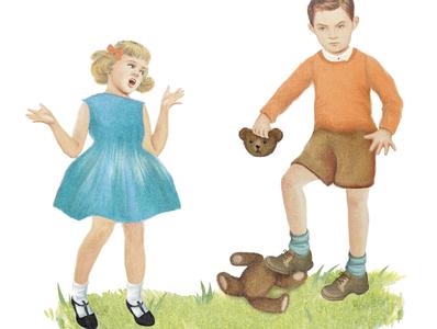 Dick + Jane article illustration print humor childrens vintage retro design illustration