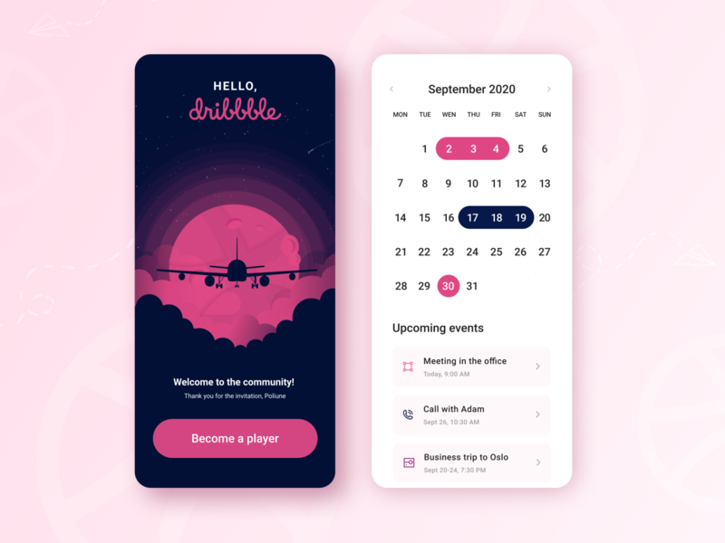 Hello Dribbblers! 🦹🏼‍♀️ pink design planning flight booking flight app hello dribbble welcome shot travel app ui design calendar ui illustrator mobile ui mobile app clean ui app design minimal design ui illustration