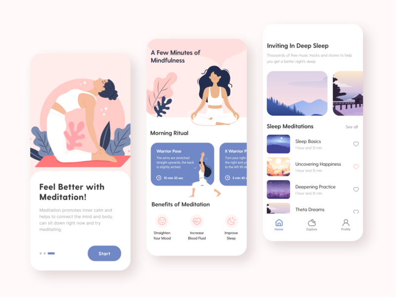 Meditation App UI Design music app yoga app ui design apple vector illustration splash page vector meditation app pink design mobile ui mobile app illustrator illustration design clean ui app design