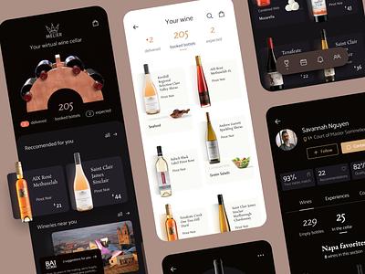 Melier wine app service someliere winery bottles wite dark ui alcohol wine flat ux interface ios app ui