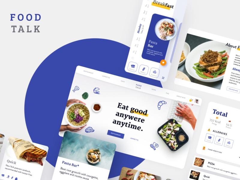 FoodTalk food ux flat interface blue app web ui