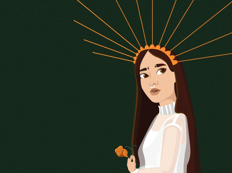I'm glad thorns have roses goddess god metaphor illustration design rose girl vector art art character vector