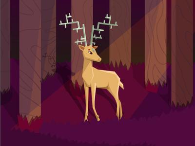 3rd eye deer flat art illustration character vector trees forest light deer