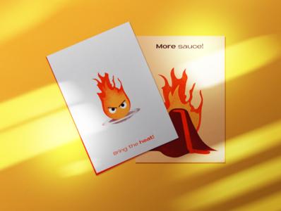 Foodie postcards! food brand flat illustration character branding design vector food illustration volcano lava fire spice sauce food