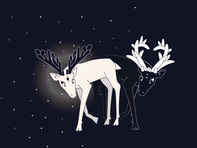 light and shadow animal night stars deer illustration deers vector