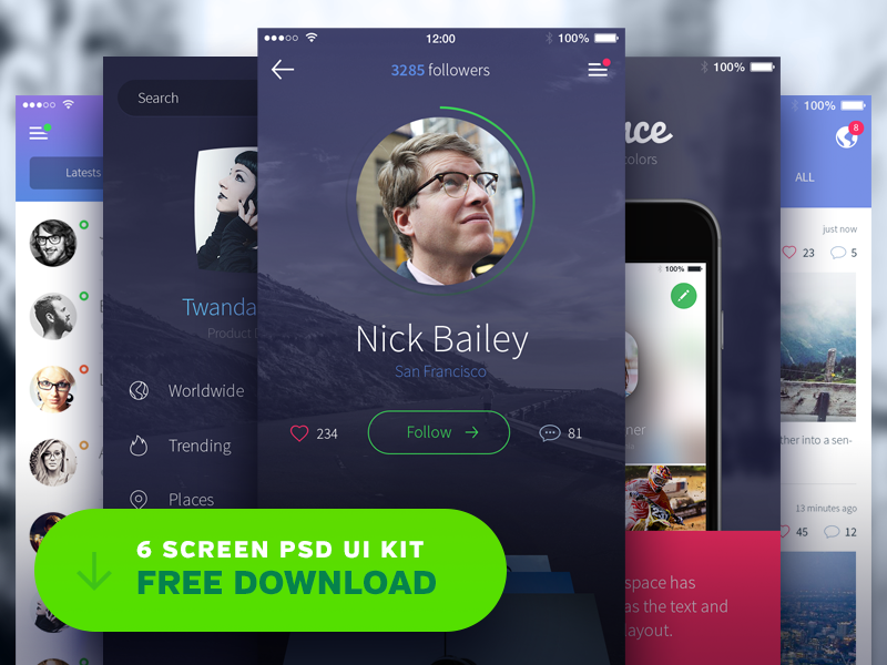 Free iPhone UI Kit psd discovery onboarding profile menu iphone 6 ios gui free freebie kit ui