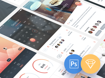 Phoenix UI: Vol 1 -  for iPhone 6 / Free PSD & Sketch ui kit interaction photoshop sketch psd download free ios freebie