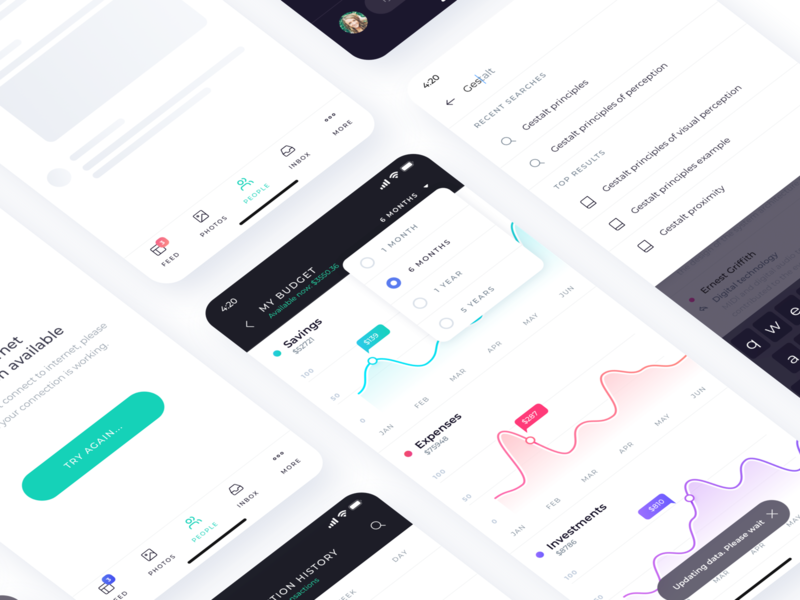 Budget visualization project atro data charts interaction ux ui kit ui8 ui sketch mobile ui kit mobile ios app