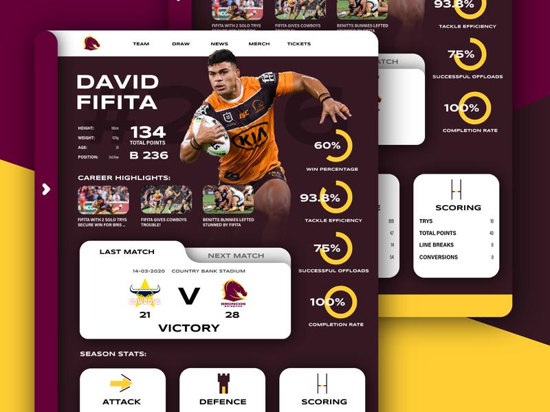 Brisbane Broncos Player UI web player maroon broncos app ux ui design concept branding