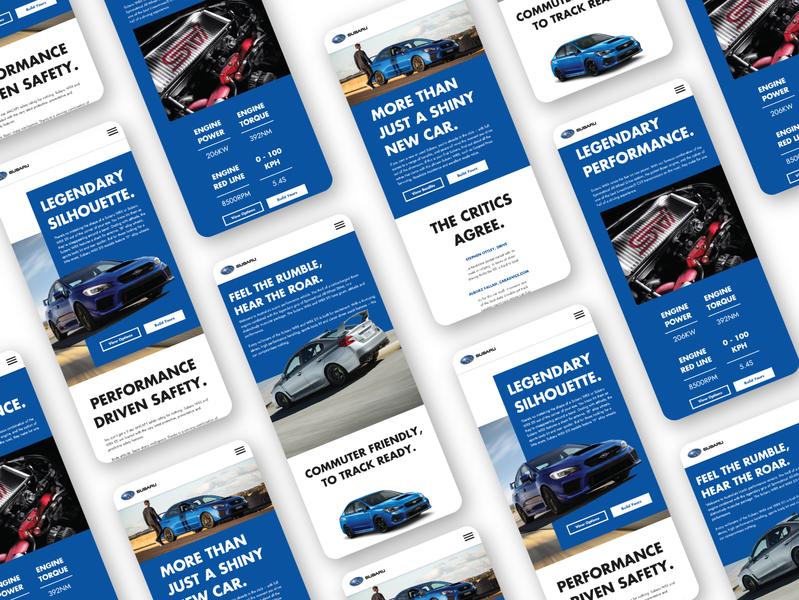 Subaru WRX STI Website UI (mobile) vector sti wrx subaru web ux ui design concept branding