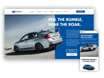 Subaru WRX STI Website UI (mobile + Desktop Hero Section)) website sti wrx subaru app web ux ui design concept branding