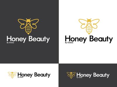 Honey Beauty Logo Design lashs beauty honey bee flat icon typography vector logo illustration design concept branding