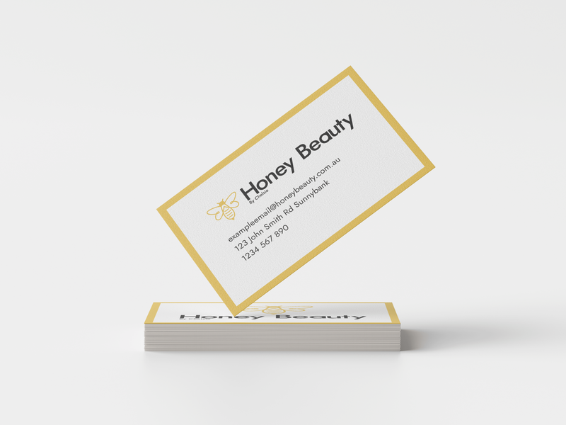 Honey Beauty Business Card Mockup lashes beauty honey bee flat icon typography logo illustration vector design concept branding