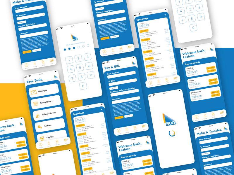 Bank of Queensland App UI Mockup yellow blue application queensland bank boq illustration vector website app web ui ux design concept branding