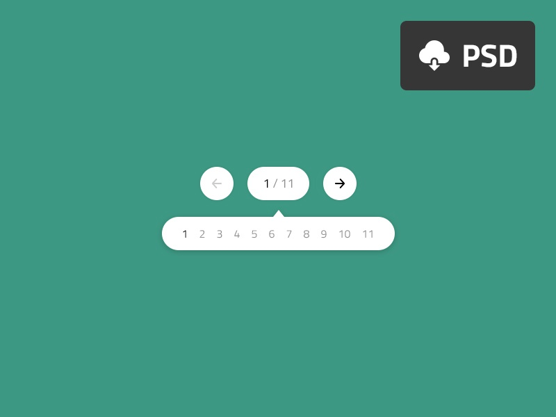 Collapse Pagination minimal psd free download freebie menu navigation pages pagination ux ui