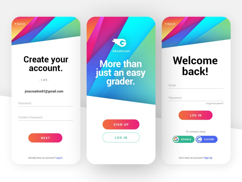 Gradient Mobile Sign Up/Login login screen log in login sign up signup ux identity web design ui branding brand identity gradients gradient