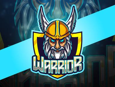 Warrior esport mascot logo design graphic gladiator gaming game fire fighter face esport emblem element e sports design club cape black badge background art angry aggressive
