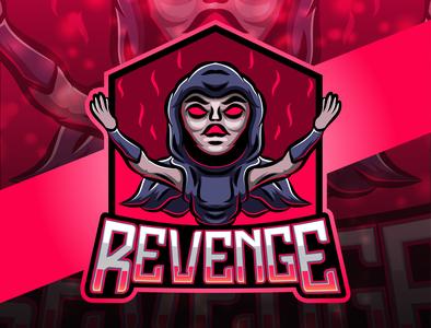 Revenge esport mascot logo design illustration icon human head graphic gaming face esport emblem design death dead danger club black badge background assassin art american
