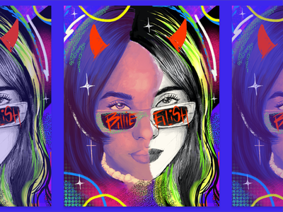Billie Eilish Portrait vibrant color musician art ipadpro portrait procreate design illustration