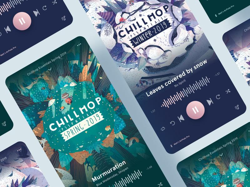 Music App UI Concept graphic design minimal chillhop music player app music design ux ui interface