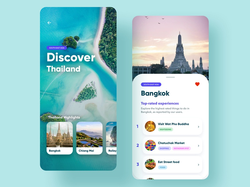Travel App UI/UX Concept Design travel clean brand web design graphic design app uiux branding ux ui interface