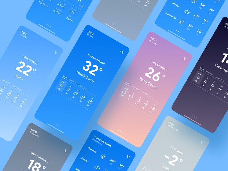 Weather App UI/UX Concept Design uiux ux ui interface graphic design design concept weather clean app