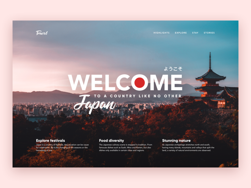 Travel Landing Page Concept - Japan web concept landingpage web design branding uiux brand graphic design ui ux interface