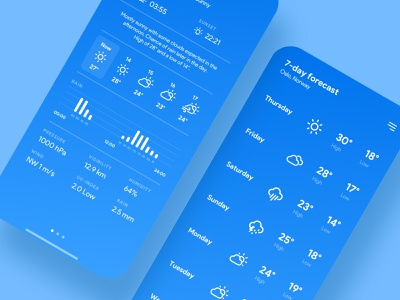Weather App Concept - Detailed view and 7-day forecast brand clean minimal concept app uiux graphic design ui ux interface