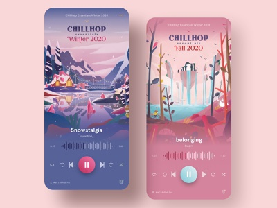 Chillhop Music Winter and Fall 2020 (Music App Concept) concept uiux ux ui interface chillhop media music app mobile app