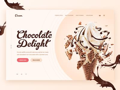 Ice Cream UI / UX Landing Page Concept landingpage ice cream web web design brand design graphic design uiux ui ux interface