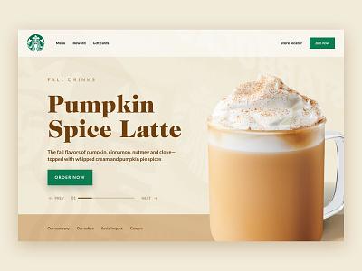 Starbucks - Pumpkin Spice Latte Landing Page Concept latte autumn fall psl pumpkin coffee starbucks brand uiux ui ux interface