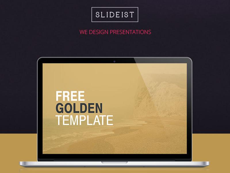 Golden Dribbble deck design free powerpoint presentation template