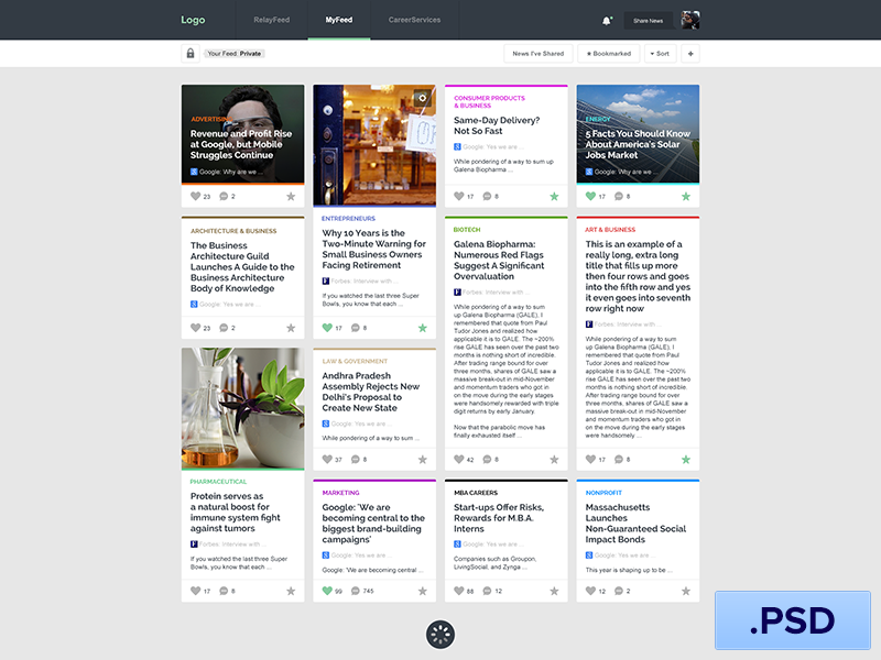 Free Newsfeed App PSD by Edi Gil on Dribbble