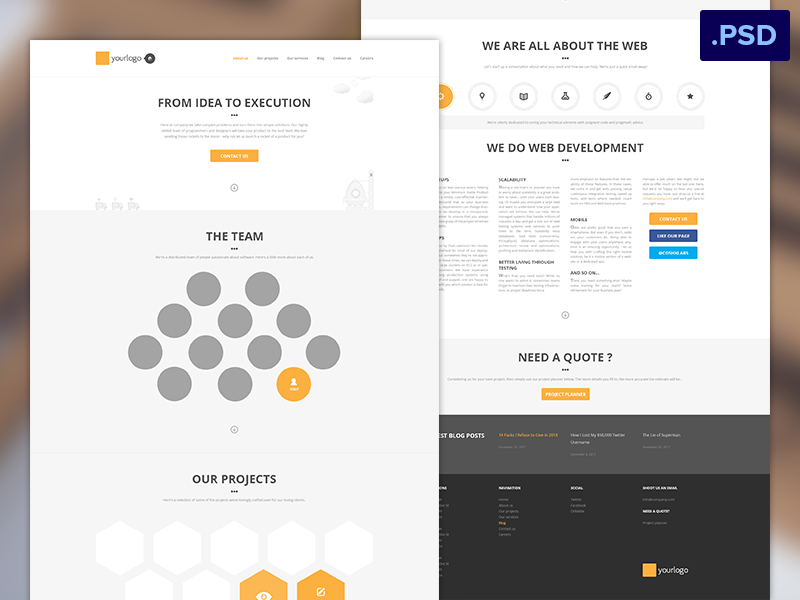 Free Homepage Psd clean minimal flat ux freebie free psd download giveaway homepage